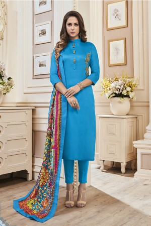Majestic Sky Blue Jam Cotton Hand Work Butta on Top Salwar Kameez