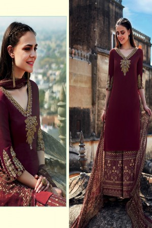 Sensuous Maroon Pure Cotton Satin Heavy Embroidery on Neck and Sleeve with Digital Print Dupatta Dress Material