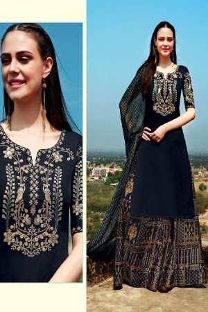 Glamorous Black Pure Cotton Satin Heavy Embroidery on Neck and Sleeve with Digital Print Dupatta Dress Material
