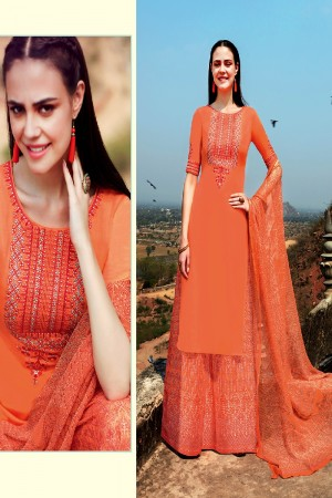 Dashing Orange Pure Cotton Satin Heavy Embroidery on Neck and Sleeve with Digital Print Dupatta Dress Material