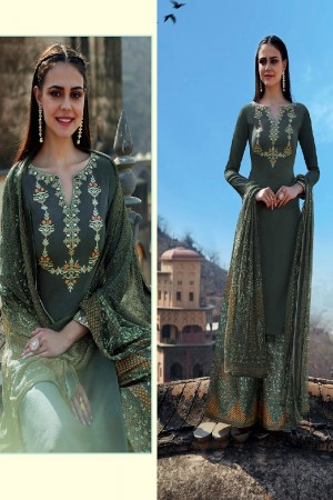 Breezy Green Grey Pure Cotton Satin Heavy Embroidery on Neck and Sleeve with Digital Print Dupatta Dress Material