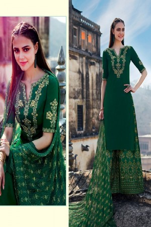 Trendy Green Pure Cotton Satin Heavy Embroidery on Neck and Sleeve with Digital Print Dupatta Dress Material