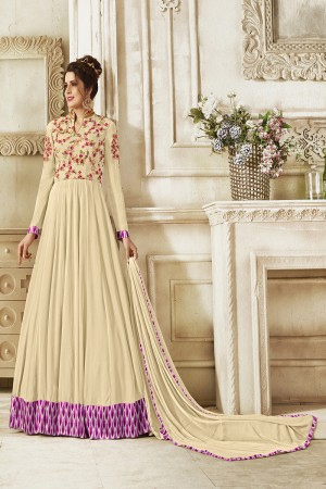 Decent Cream Georgette Heavy Embroidery on Neck and Sleeve with Lace Border Salwar Kameez