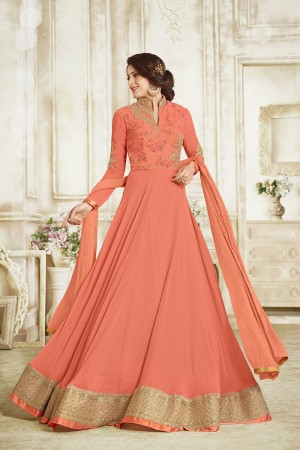 Brilliant Orange Georgette Heavy Embroidery on Neck and Sleeve with Lace Border Salwar Kameez