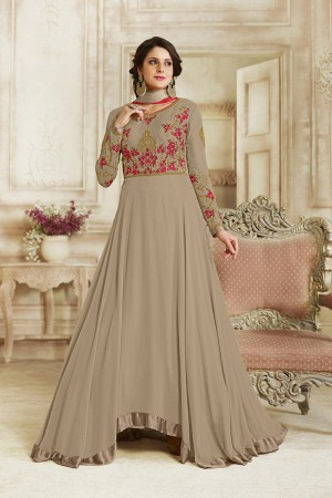 Creative Chiku Georgette Heavy Embroidery on Neck and Sleeve with Lace Border Salwar Kameez