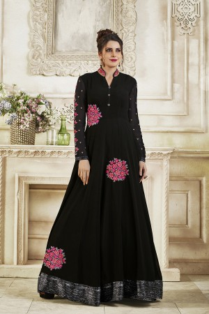 Dynamic Black Georgette Heavy Embroidery on Neck and Sleeve with Lace Border Salwar Kameez