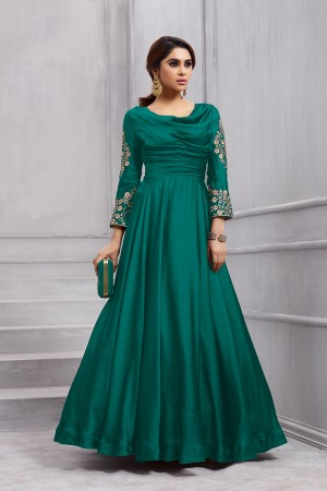 Enticing Teal Fobi Silk Heavy Embroidery on Sleeve and Butta Work in Back Side Salwar Kameez