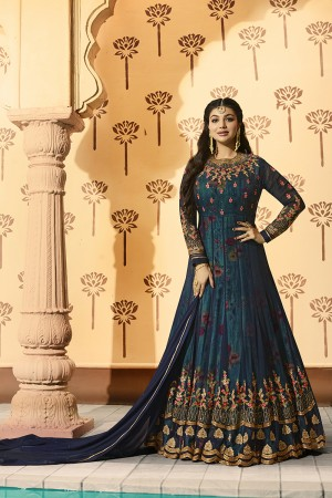 Ayesha Takia Blue Georgette Heavy Embroidery on Neck and Sleeve with Kali Work Salwar Kameez