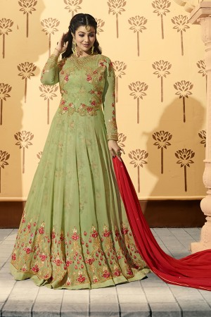 Ayesha Takia Pista Green Georgette Heavy Embroidery on Neck and Sleeve with Kali Work Salwar Kameez