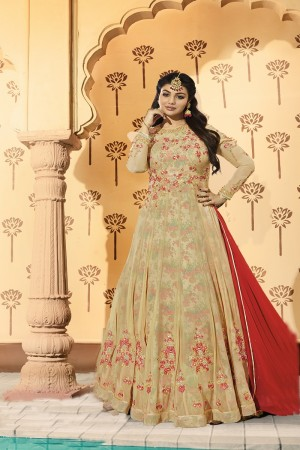 Ayesha Takia Cream Georgette Heavy Embroidery on Neck and Sleeve with Kali Work Salwar Kameez