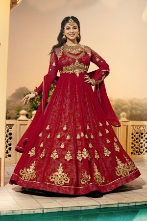 Ayesha Takia Red Georgette Heavy Embroidery on Neck and Sleeve with Kali Work Salwar Kameez