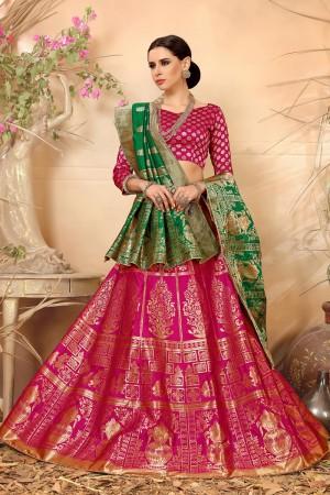 Attractive Rani pink Banarasi Silk Jacquard Work Banarasi Jacquard Lehenga Choli