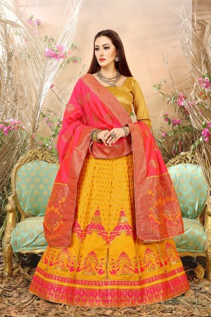 Graceful Yellow Banarasi Silk Jacquard Work Banarasi Jacquard Lehenga Choli