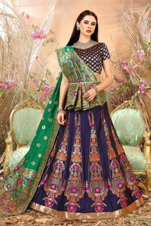 Fabulous Blue Banarasi Silk Jacquard Work Banarasi Jacquard Lehenga Choli