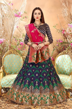 Captivating Blue Banarasi Silk Jacquard Work Banarasi Jacquard Lehenga Choli