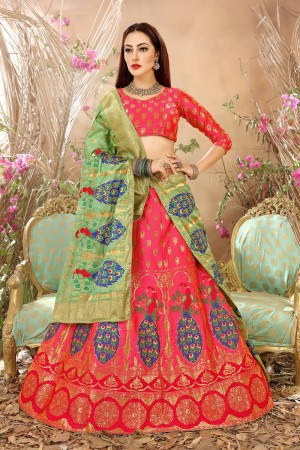 Glitzy Pink Banarasi Silk Jacquard Work Banarasi Jacquard Lehenga Choli