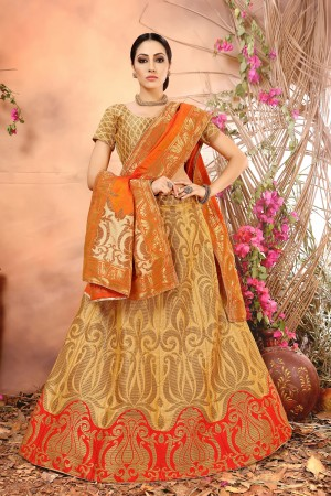 Ethnic Mustard Banarasi Silk Jacquard Work Banarasi Jacquard Lehenga Choli