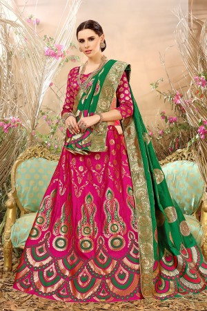 Distinctive Rani pink Banarasi Silk Jacquard Work Banarasi Jacquard Lehenga Choli