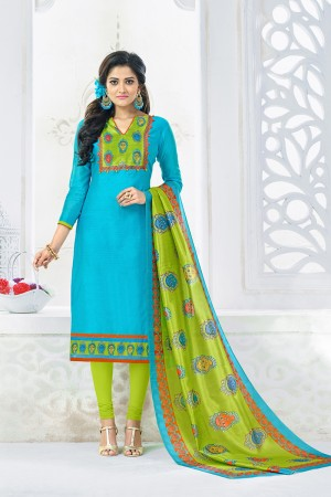 Stupendous Sky Blue Chanderi Plain Top with Digital Print Dupatta Dress Material