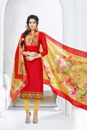 Mind Blowing Red Chanderi Plain Top with Digital Print Dupatta Dress Material