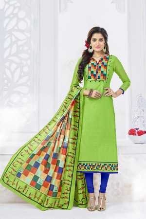 Blissful Parrot Green Chanderi Plain Top with Digital Print Dupatta Dress Material