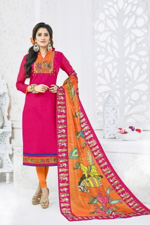 Sparkling Rani Pink Chanderi Plain Top with Digital Print Dupatta Dress Material