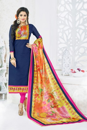 Charismatic Blue Chanderi Plain Top with Digital Print Dupatta Dress Material