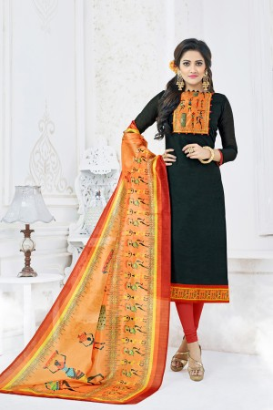 Marvelous Black Chanderi Plain Top with Digital Print Dupatta Dress Material