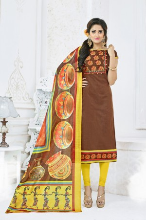 Impressive Coffee Chanderi Plain Top with Digital Print Dupatta Dress Material