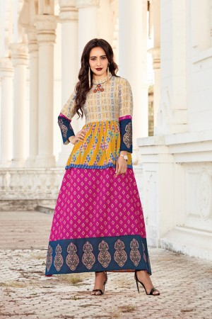 Neha Sharma Multi Color Lawn Cotton Print with Fancy Botton and Pompom  Kurti