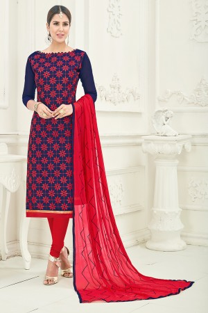 Splendiferous Chanderi Blue Thread Embroidery with Embroidery Dupatta Dress Material