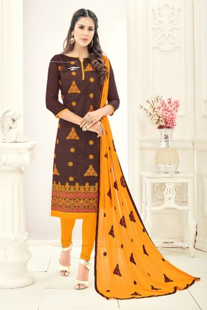 Attractive Chanderi Brown Thread Embroidery with Embroidery Dupatta Dress Material