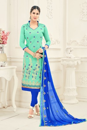 Graceful Chanderi Pista Thread Embroidery with Embroidery Dupatta Dress Material