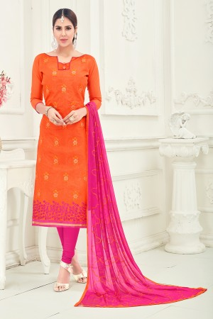 Fabulous Chanderi Orange Thread Embroidery with Embroidery Dupatta Dress Material