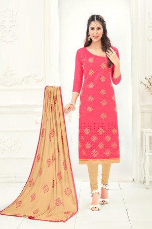 Glitzy Chanderi Peach Thread Embroidery with Embroidery Dupatta Dress Material