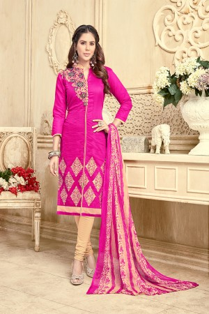 Ambitious Chanderi RaniPink Thread Embroidery with Print Dupatta Dress Material