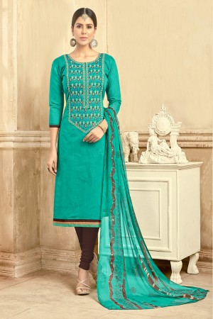 Astounding Chanderi Bottle Green Thread Embroidery with Print Dupatta Dress Material