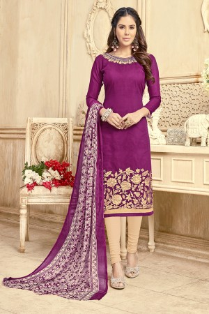 Ravishing Chanderi Wine Thread Embroidery with Print Dupatta Dress Material