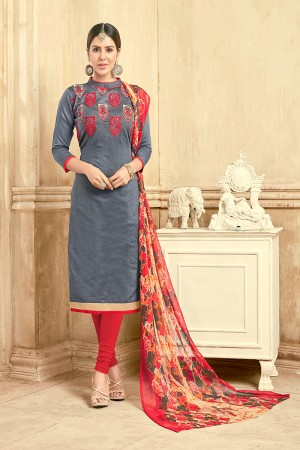 Dreamy Chanderi Grey Thread Embroidery with Print Dupatta Dress Material