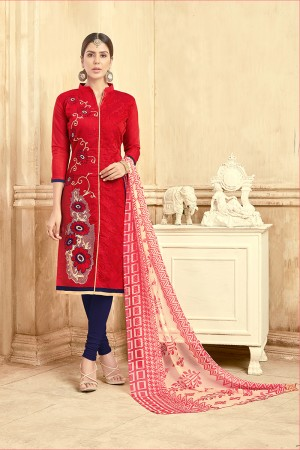 Classic Chanderi Red Thread Embroidery with Print Dupatta Dress Material