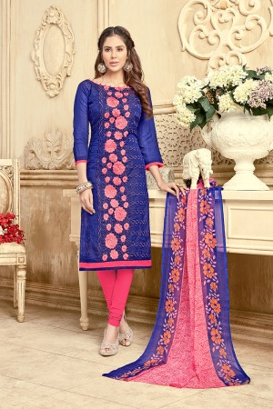 Classy Chanderi Blue Thread Embroidery with Print Dupatta Dress Material