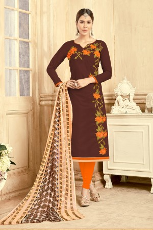 Beguiling Chanderi Brown Thread Embroidery with Print Dupatta Dress Material