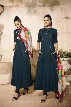 Trendy Aqua Rayon Plain  with Fancy Pattern Mal Cotton Scarf Kurti