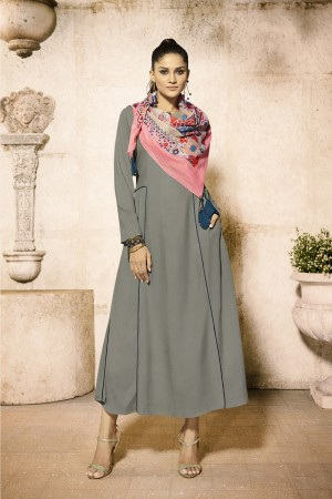 Versatile Grey Rayon Plain  with Fancy Pattern Mal Cotton Scarf Kurti