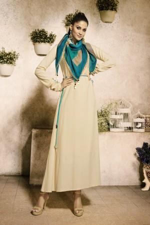 Charming Cream Rayon Plain  with Fancy Pattern Mal Cotton Scarf Kurti