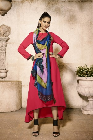 Dazzling Pink Rayon Plain  with Fancy Pattern Mal Cotton Scarf Kurti