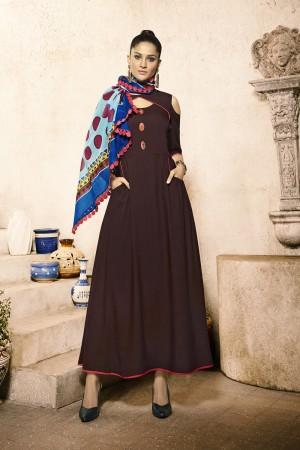 Exuberant Brown Rayon Plain  with Fancy Pattern Mal Cotton Scarf Kurti