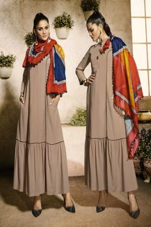 Outstanding Chiku Rayon Plain  with Fancy Pattern Mal Cotton Scarf Kurti