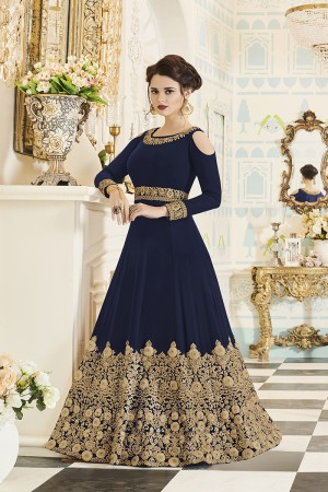 Delightful Blue Georgette Heavy Embroidery Coding and Stone Work  Salwar Kameez