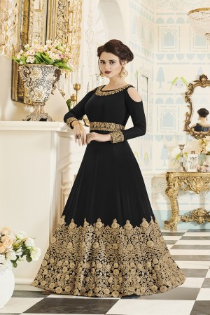 Sensational Black Georgette Heavy Embroidery Coding and Stone Work  Salwar Kameez